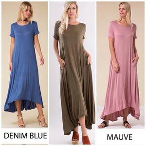 ❗️CLOSING SALE❗️ Mauve Short Sleeve Maxi Dress